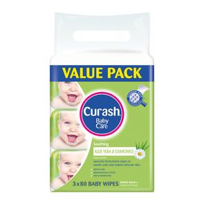 Curash Baby Wipes Soothing 80 3 Pack