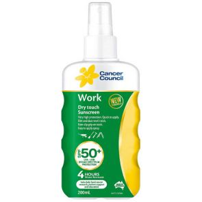 Cancer Council Work Spf 50+ Finger Spray 200Ml