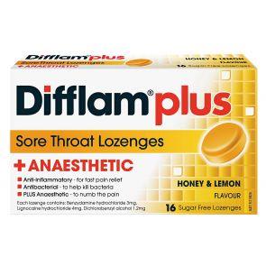 Difflam Plus Sore Throat Lozenge Plus Anaesthetic Honey & Lemon 16pk