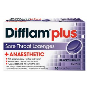 Difflam Plus Sore Throat Lozenge Plus Anaesthetic Blackcurrant 16pk