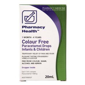 Pharmacy Health Colour Free Paracetamol Drops Infants & Children 20mL