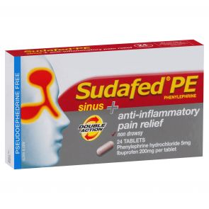 Sudafed Pe Sinus &  Anti-Inflamatory Pain Relief Tablets 24