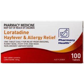 Pharmacy Health Loratadine Hayfever & Allergy Relief 100 Tablets