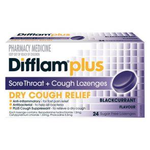 Difflam Plus Sore Throat + Cough Lozengesenges Blackcurrent 24