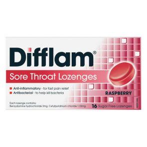 Difflam Sore Throat Lozengesenges Raspberry 16
