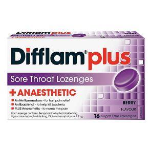 Difflam Plus Sore Throat Lozenge Plus Anaesthetic Berry 16pk
