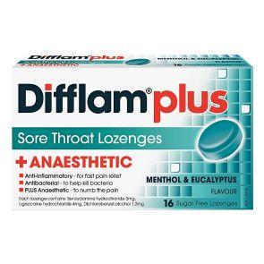 Difflam Plus Sore Throat Lozenge Plus Anaesthetic Eucalyptus & Menthol 16pk