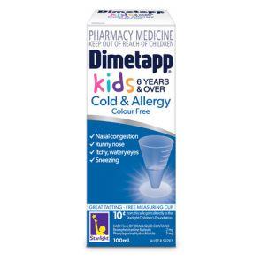 Dimetapp Cold & Allergy Colour Free Liquid 100Ml