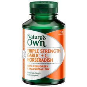 Nature'S Own Triple Stregth Garlic + C, Horseradish Tablets 60