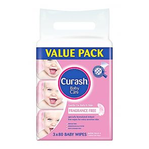 Curash Baby Wipes Fragrance Free 80 3 Pack